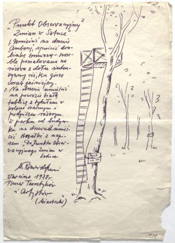 Maria Pininska-Beres, Punkt obserwacyjny zmian w sztuce, 1978, szkic do realizacji